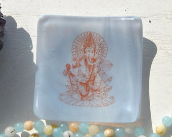 Lavender Ganesh/Ganesha Mini Fused Glass Dish