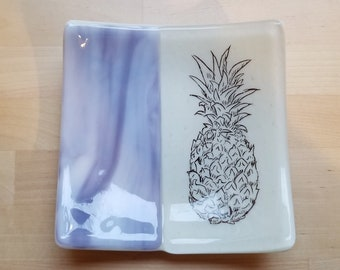 Purple and Beige Pineapple Fused Glass Dish/Plate