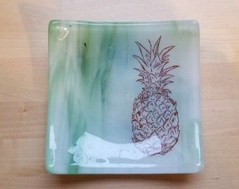 Green Pineapple Fused Glass Dish/Plate