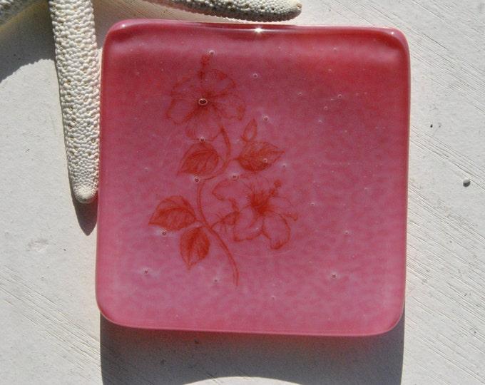 Pink Hibiscus Mini Fused Glass Dish