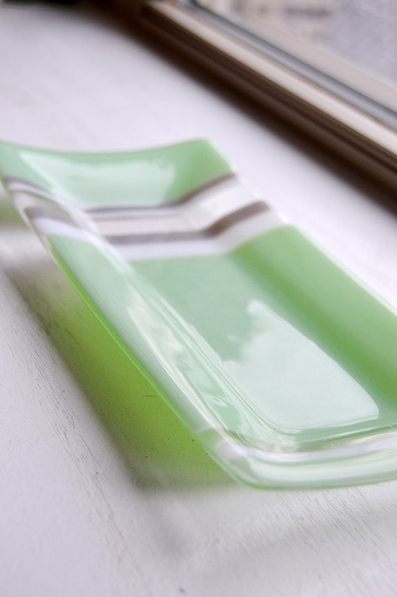 Glass Sushi Dish/Plate (Mint Green and Gray)