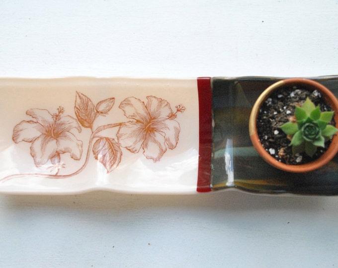 Hibiscus 3-part Fused Glass Dish