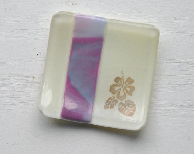 Pink/Purple Hibiscus Mini Fused Glass Dish