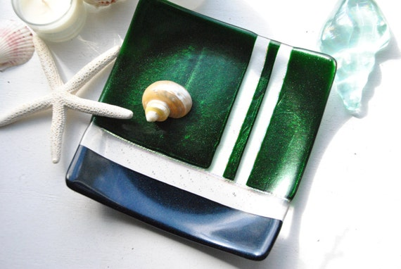 Sparkly Glass Dish/Plate (Green and Navy Blue)