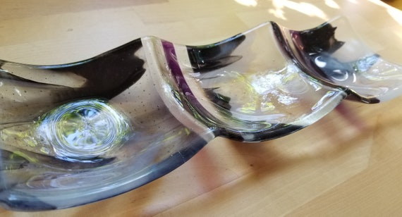 3-part Sectional Glass Dish (Black, White and Purple)