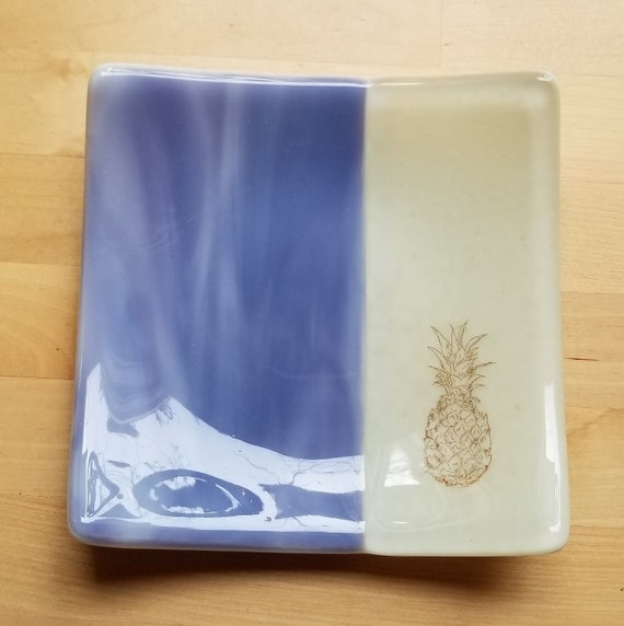 Pineapple Glass Dish/Plate (Lavender/Purple and Beige)