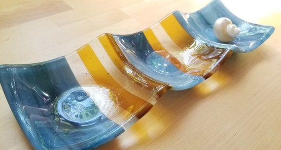 3-part Sectional Glass Dish (Blue and Yellow)