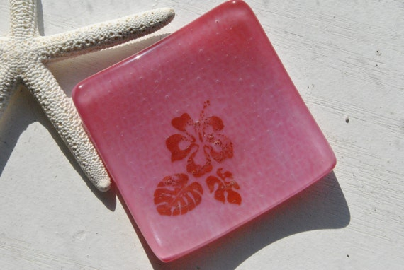 Hibiscus Mini Glass Dish (Pink)