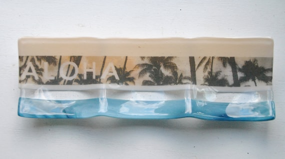 Aloha Tropical Palms Glass Dish (3-part sectional)