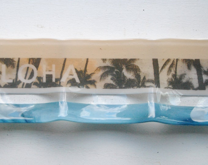 Tropical Palms 3-part Fused Glass Dish