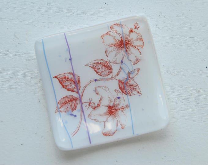 White Hibiscus Mini Fused Glass Dish