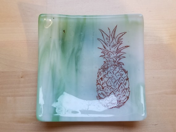 Pineapple Glass Dish/Plate (Light Green)