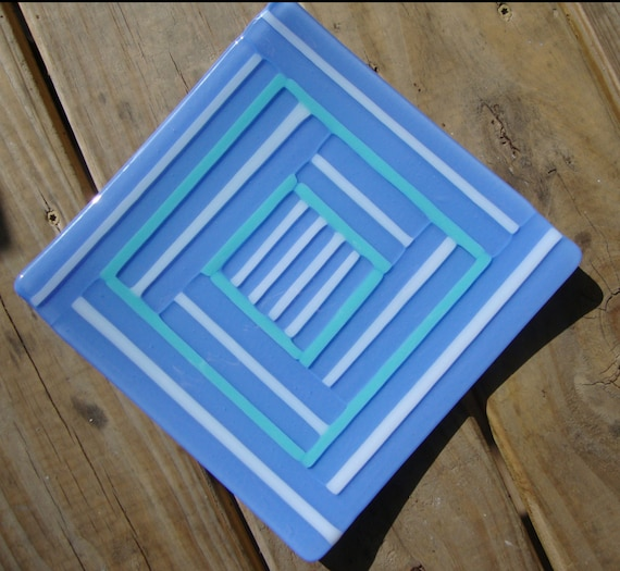Striped Glass Dish/Plate (Blue, White and Periwinkle)