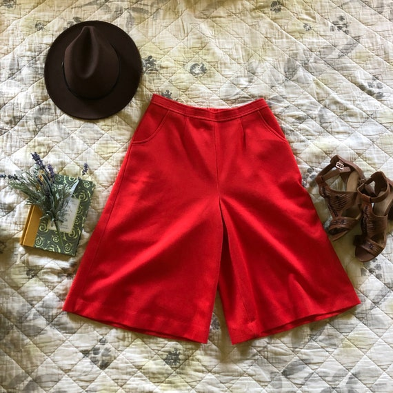 Vintage 70s Red Culottes, Retro Red Culottes, 197… - image 4