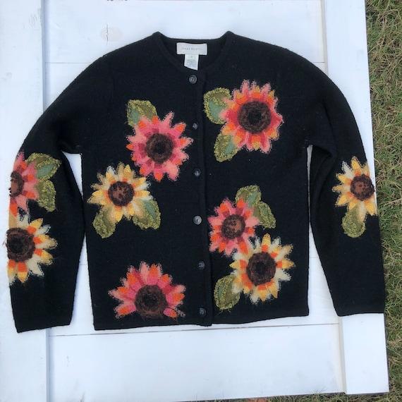 Vintage 90s Sunflower Cardigan, Vintage 90s Flower