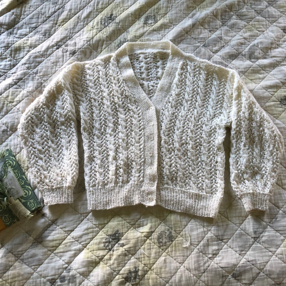 Vintage Hand Knit White Shimmery Lace  Cardigan,Vi