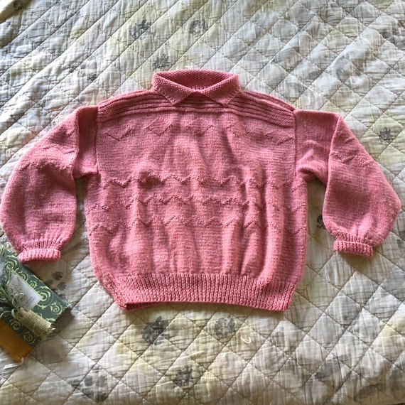 Vintage Hand Knit Puff Sleeve Collared Sweater, Vi