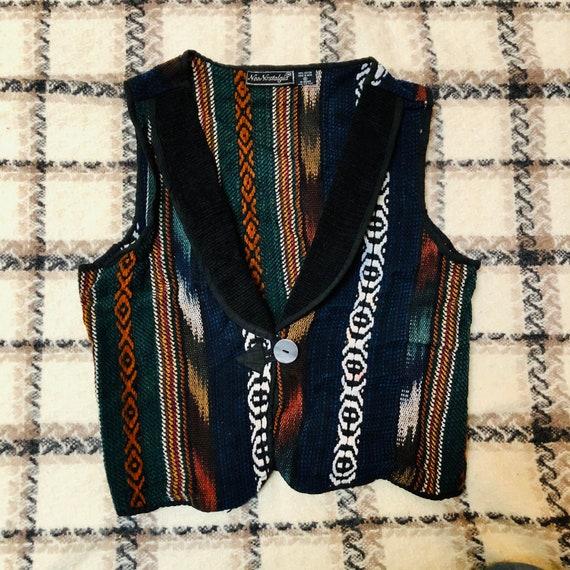 Vintage 90s Woven Indian Vest, Woven Boho Western