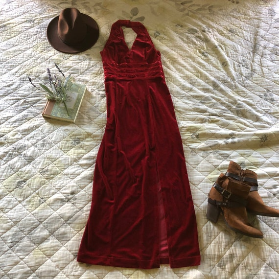 Vintage 90s Red Velvet Halter Dress, 90s Velvet H… - image 1