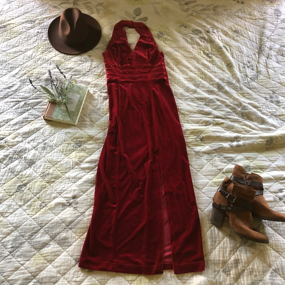 Vintage 90s Red Velvet Halter Dress, 90s Velvet Ha