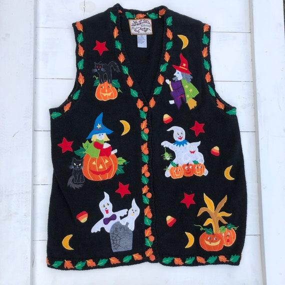 90s Vintage Halloween Vest, Halloween Sweater Ves… - image 1