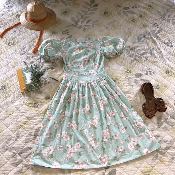 Vintage 90s Romantic Floral Dress, 90s Puff Sleeve