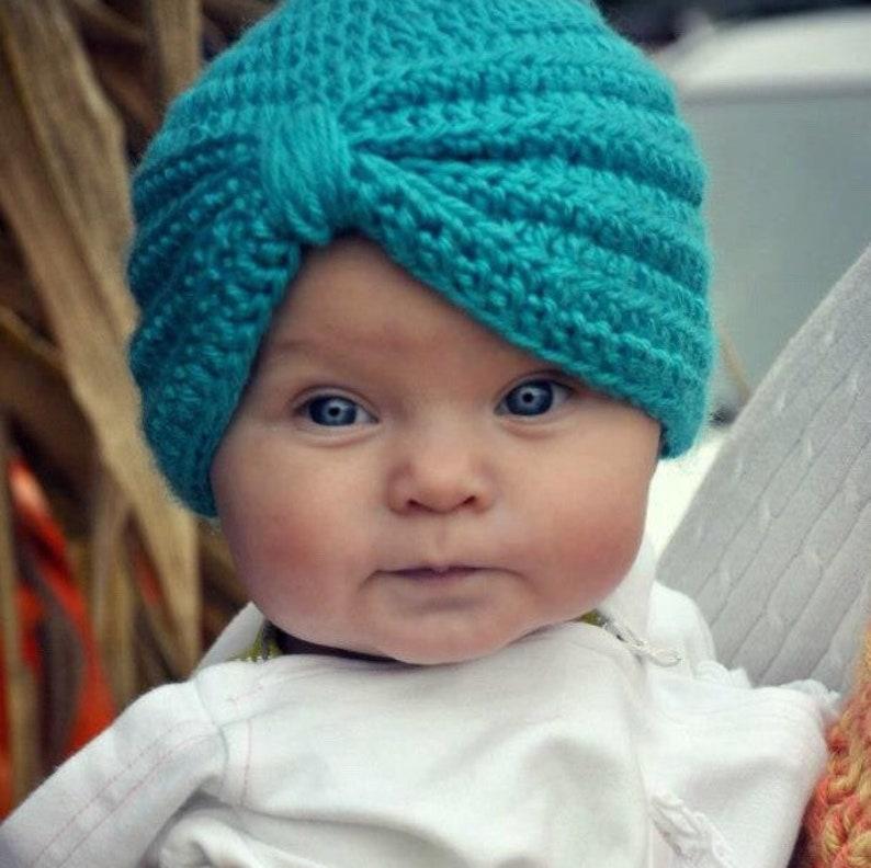 d83a0b5bf41 Crochet Baby Turban Crochet baby Hat Crochet baby photo prop