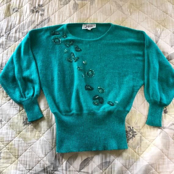 Vintage 50s Style Snug Sequined Sweater, Vintage P