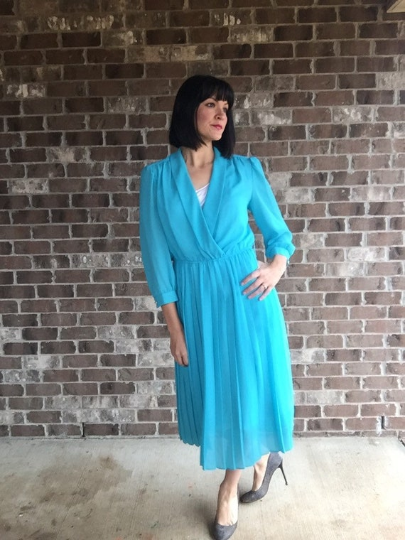 40s style Dress, Vintage Blouse Top Pleated Skirt,
