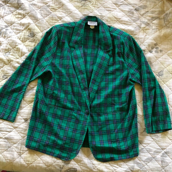 90s Green Plaid Blazer, Vintage 90s Plaid Blazer,