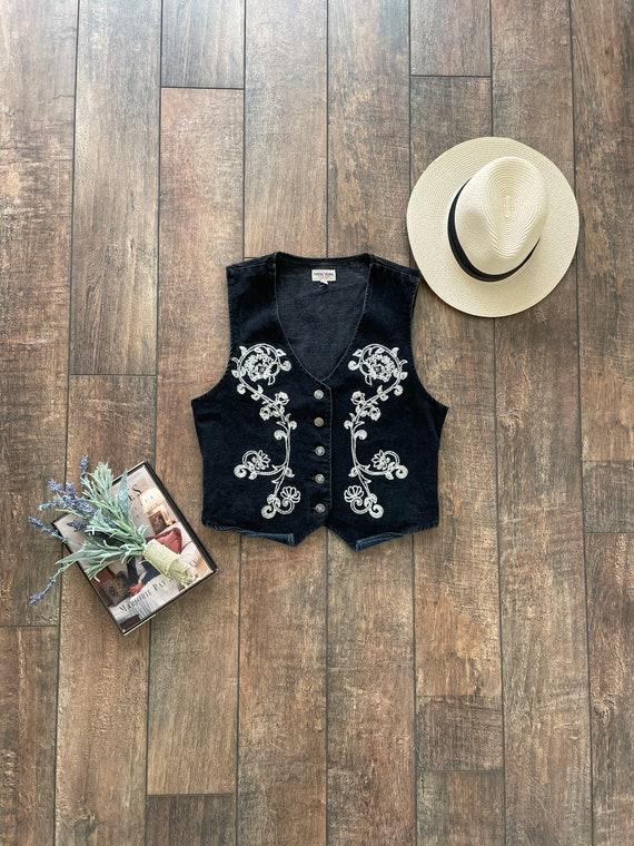 90s Western Floral Denim Vest, Vintage Southwest D