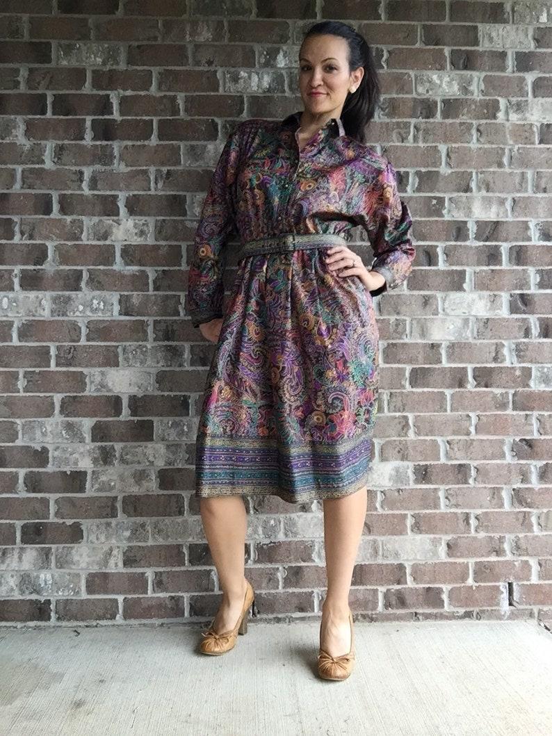 Retro Paisley Dress Vintage Paisley Dress Vintage Petrina paisly dress belted collared Paisly Dress