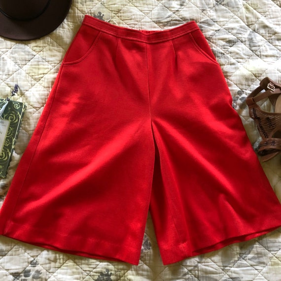 Vintage 70s Red Culottes, Retro Red Culottes, 197… - image 2