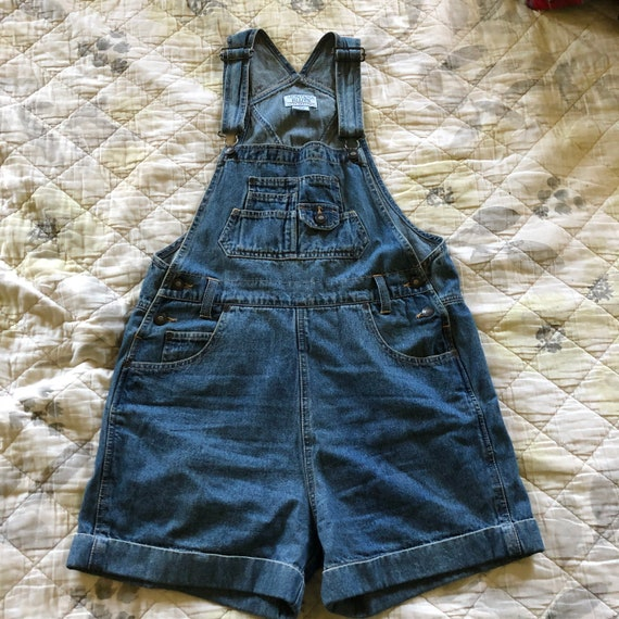 Vintage 90s Denim Overall Shorts, 90s Jean Overall
