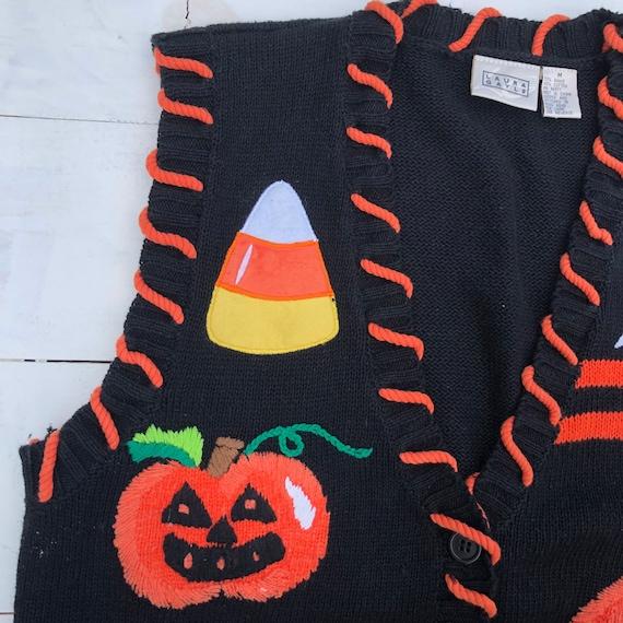 90s Vintage Halloween Vest, Halloween Sweater Ves… - image 3