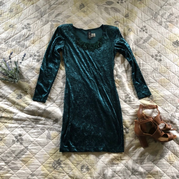 Vintage Emerald Green Crushed Velvet Mini Dress,Vi
