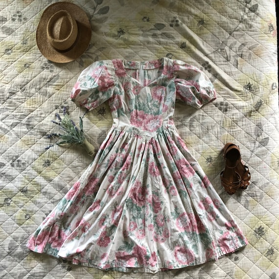 Vintage Floral Puff Sleeve Dress, Vintage 90s Puff