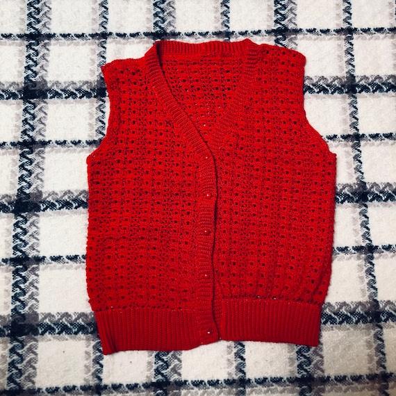 Vintage Red Knit Sweater Vest, Mona Lisa Smile, 40