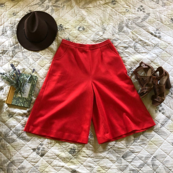 Vintage 70s Red Culottes, Retro Red Culottes, 197… - image 5