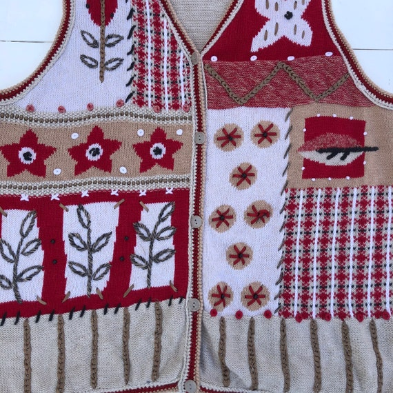 Vintage 90s Embroidered Autumn Christmas Sweater … - image 4