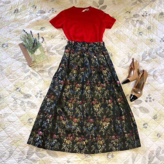 Vintage Floral Formal Midi Skirt, Vintage Susan Br