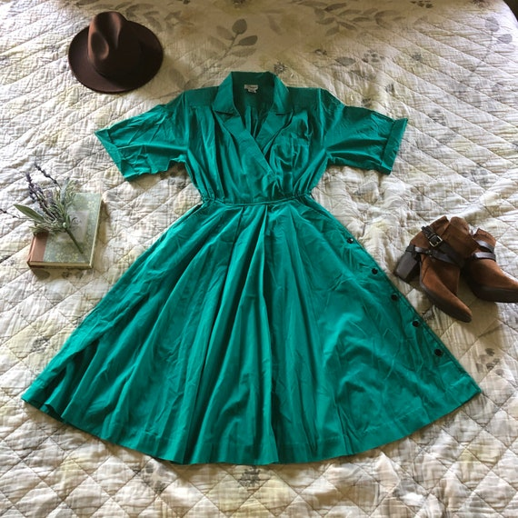 Vintage Full skirt Shirt Dress, Vintage Green Shir