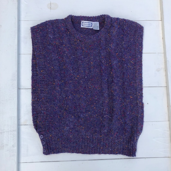 80s Vintage Speckled Purple Sweater Vest, Vintage… - image 1