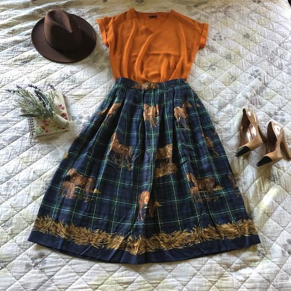 Vintage Plaid Gold Horse Midi Skirt, 90s Susan Bri