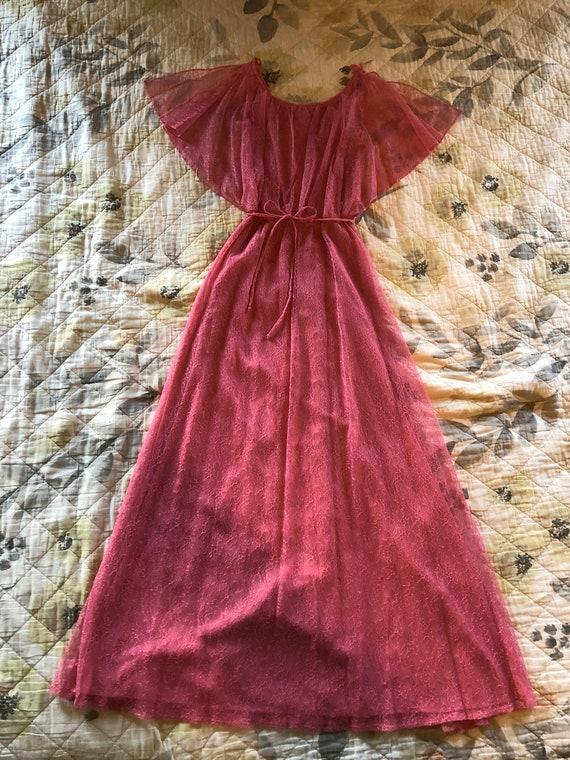 Vintage Lacy Pink Formal Dress, 60s/70s Vintage Pi