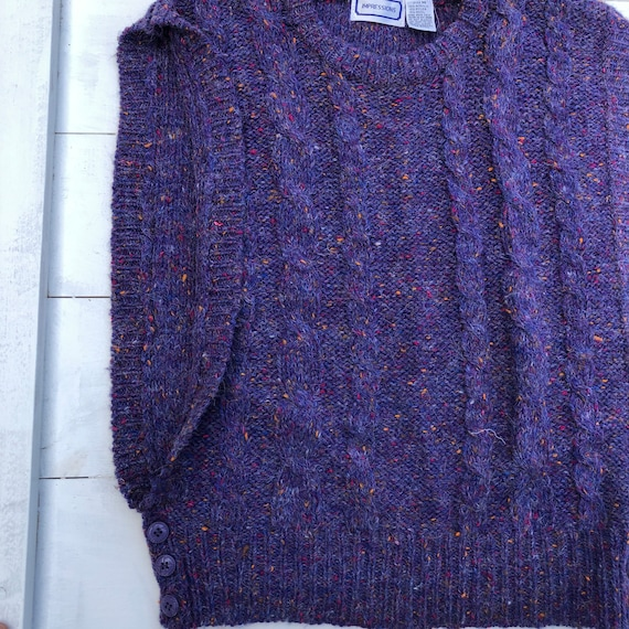 80s Vintage Speckled Purple Sweater Vest, Vintage… - image 4