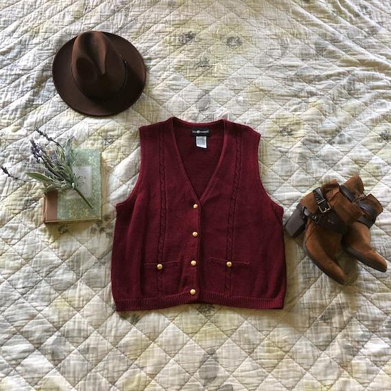 Vintage 90s Maroon Sweater Vest, 90s Button up Sw… - image 1