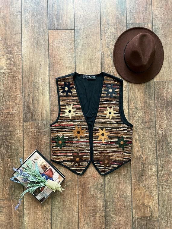 90s Vintage Woven Vest, 90s Western Tribal Vest, 9