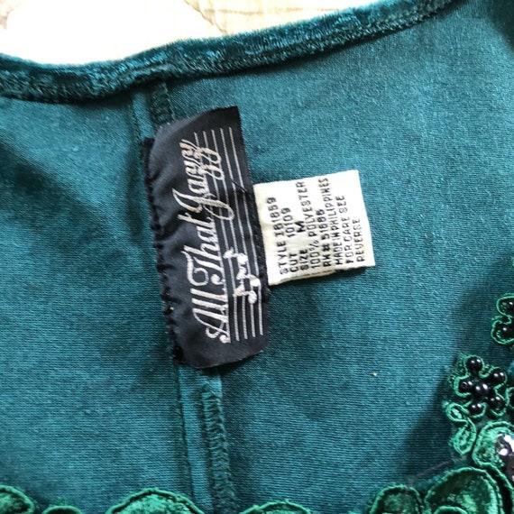Vintage Emerald Green Crushed Velvet Mini Dress,V… - image 4