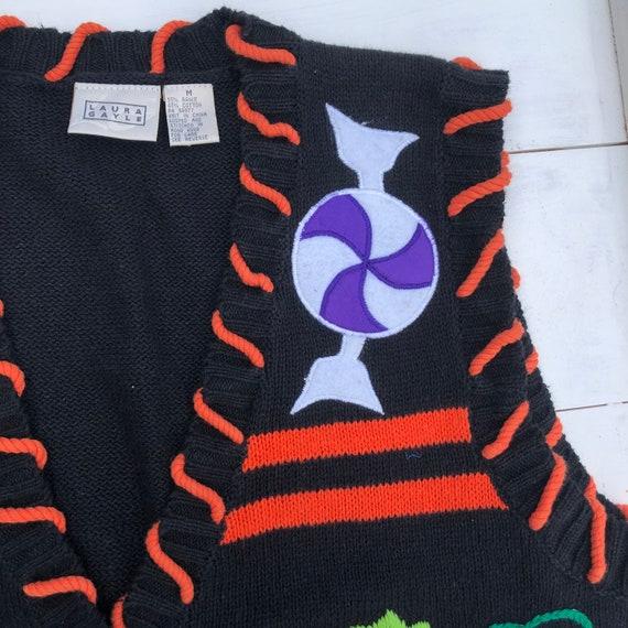 90s Vintage Halloween Vest, Halloween Sweater Ves… - image 5